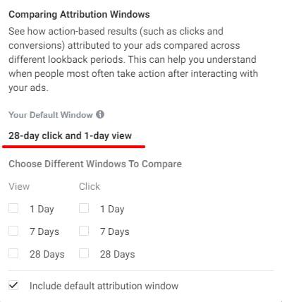 facebook default attribution window